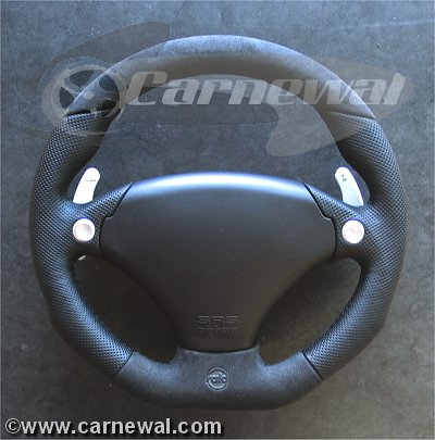 Cavallo Race 340mm Leather , Alcantara and silver shifter paddles