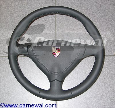 Leather 3 Spoke Steering Wheel with Vinyl Airbag - Tip